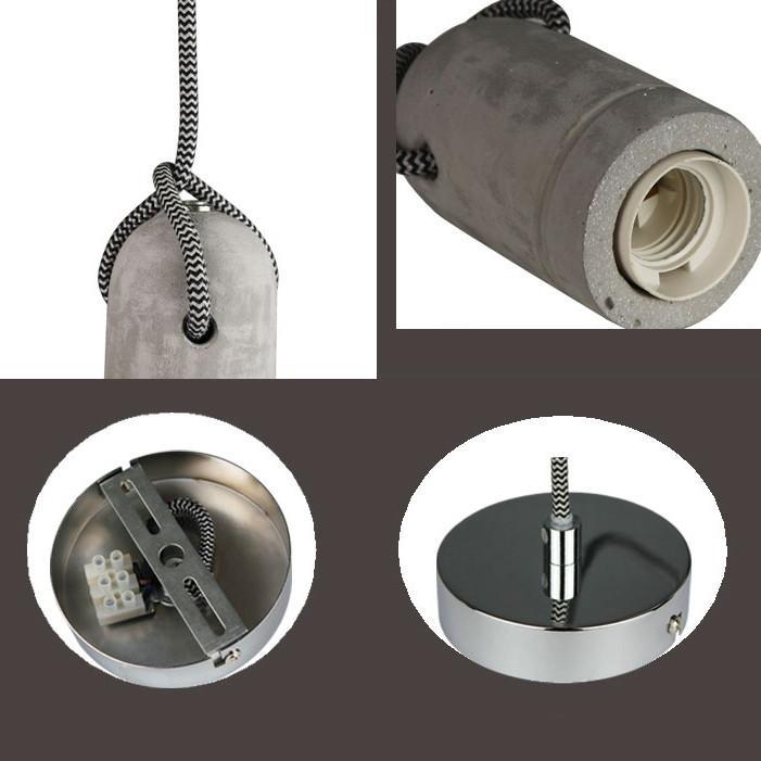 Concrete Bare Bulb Light Fitting Pendant Light