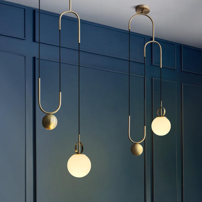 Cradle Brass Art Deco Pulley Pendant Light