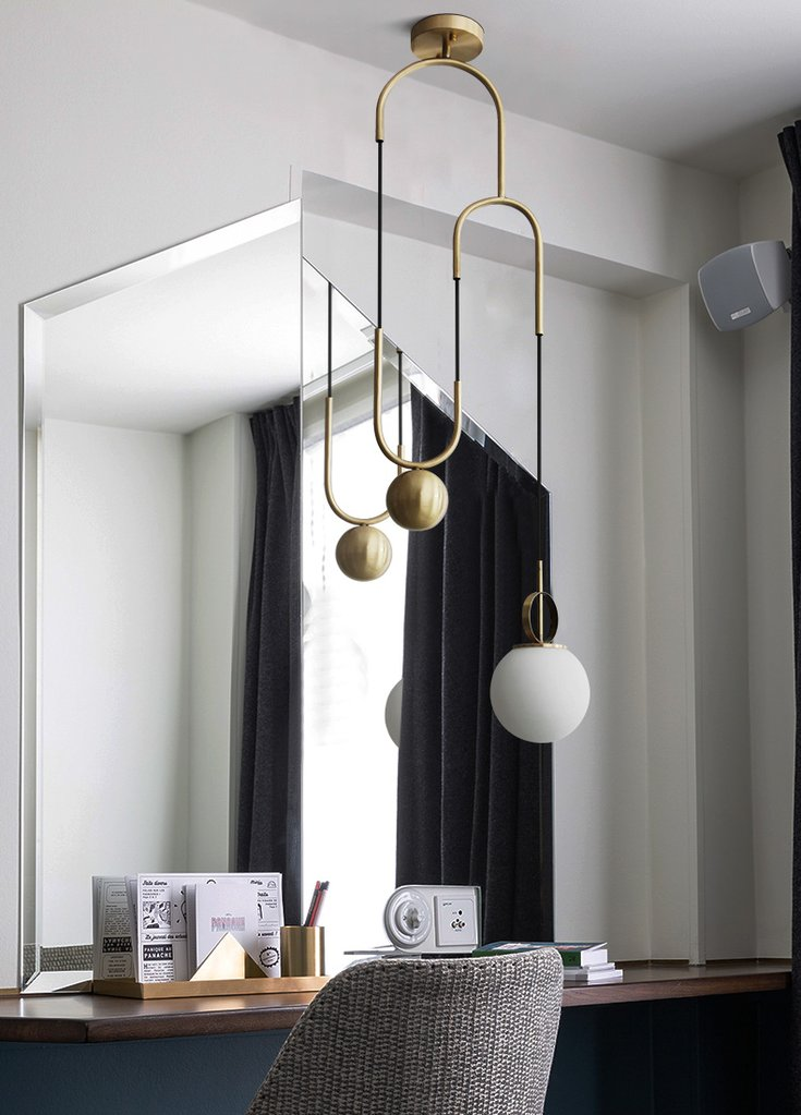 Cradle Brass Art Deco Pulley Pendant Light