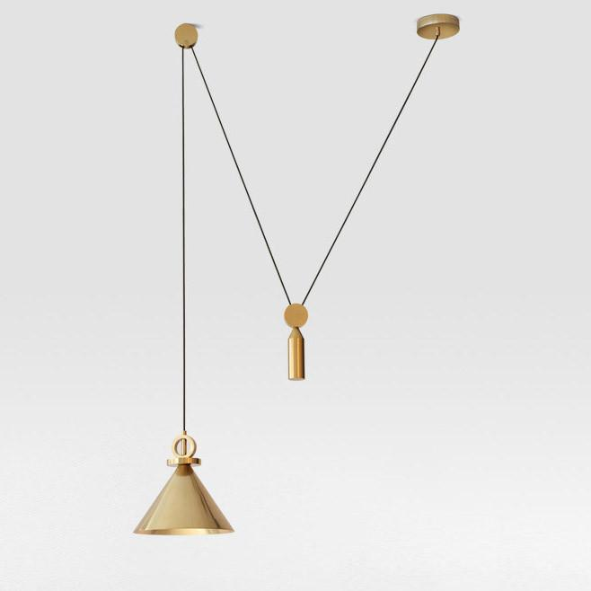 Pure gold pulley pendant light