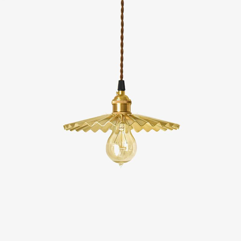 Brushed brass fluted pendant light