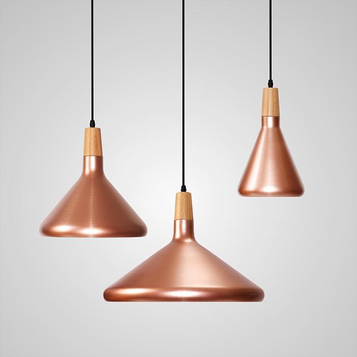 Kopar Minimalist Metal And Wood Pendant Ceiling Light