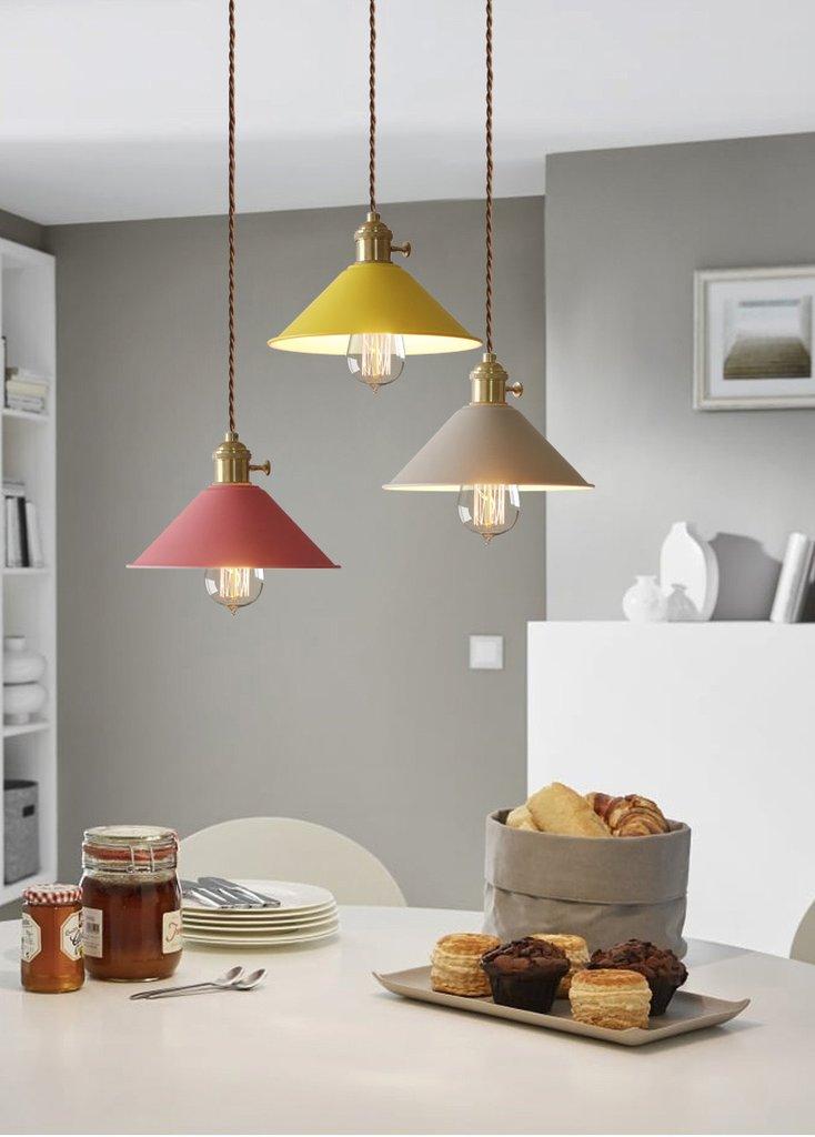 Pastel Coloured Cone Shade Industrial Loft Pendant Light