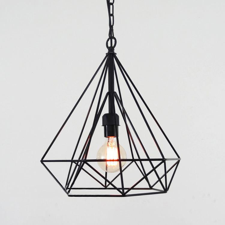 Geometric Diamond Wire Cage Pendant Light