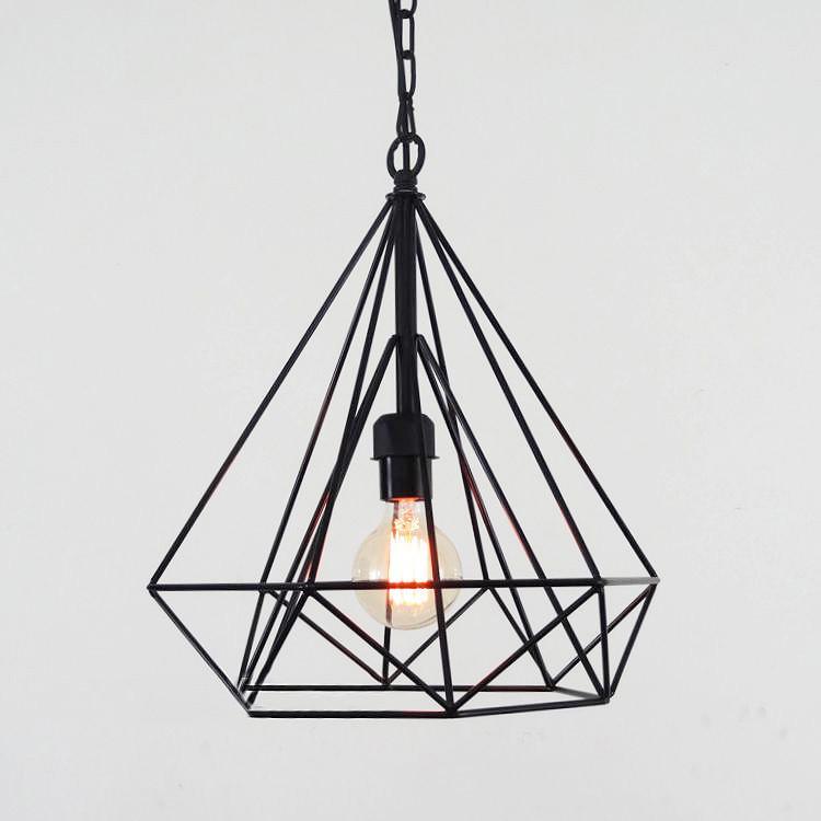 Geometric Diamond Wire Cage Pendant Light