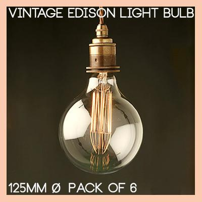 Retro Edison Filament Light Bulb. Large Round Bulb G125 40W (3 or 6 pack)