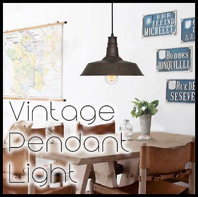 Vintage Industrial Pendant Light Rustic brown