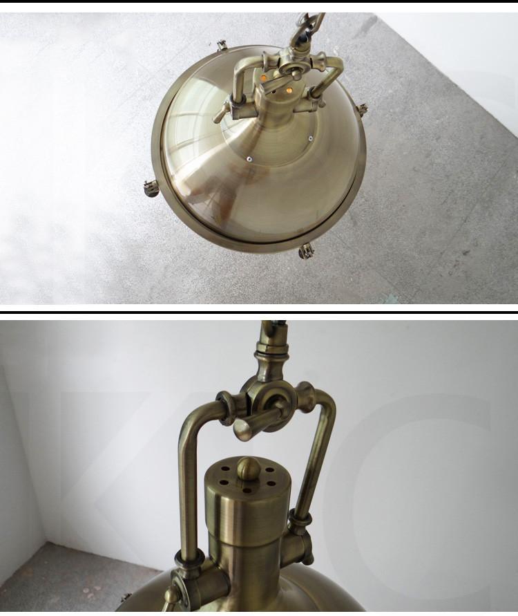 Polished Bronze Industrial Vintage Pendant Light