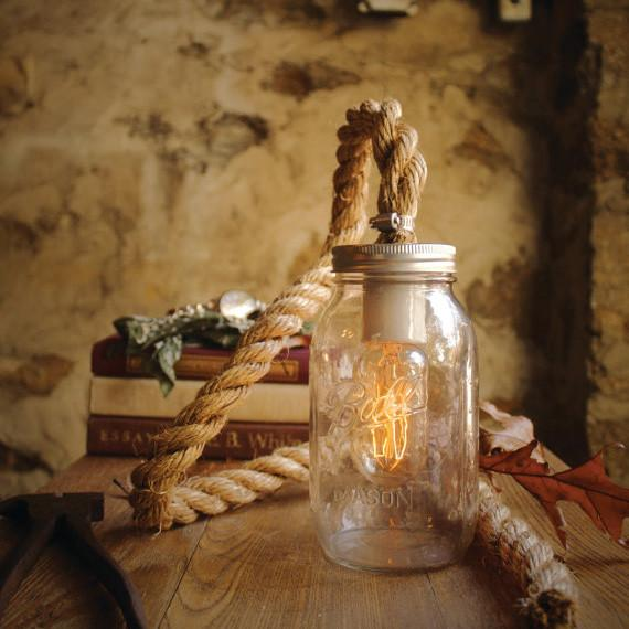 Vintage Retro Mason Jar Pendant Light With Hessian Rope Cable. Loft Warehouse and Industrial Feel.