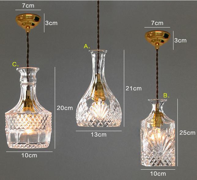 Cut glass bottle Pendant Light