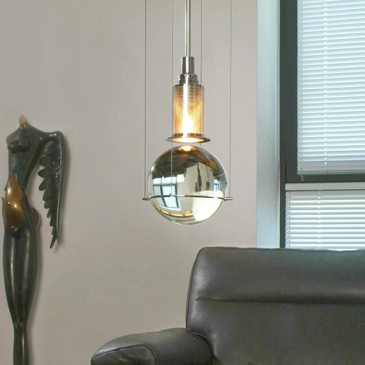 Opal round glass sphere midcentury pendant Light