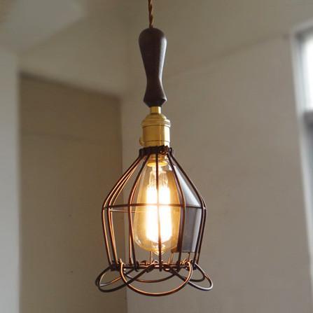 Industrial Loft Pendant Light With Wooden Handle