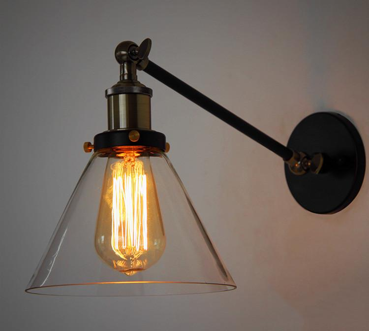 Glass Cone Shade Wall Light. Industrial Retro Styled Bedside Light.